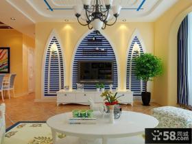 地中海风格客厅背景墙装修设计图