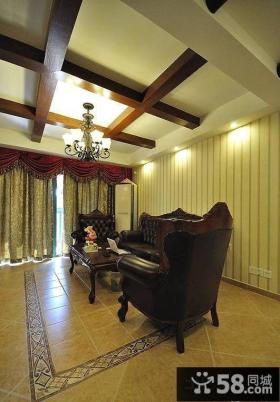 古典欧式木龙骨客厅吊顶效果图
