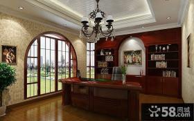 地中海风格别墅书房装修效果图片