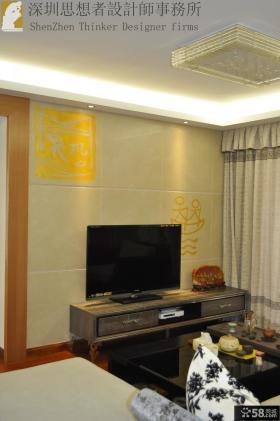 简约中式客厅瓷砖电视机背景墙效果图