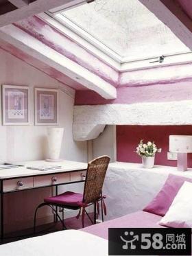 粉色别墅卧室飘窗装修效果图大全2014