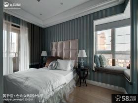 欧式卧室床头软包皮壁纸背景墙效果图