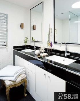 黑白简约家庭卫生间、复式楼装修效果图