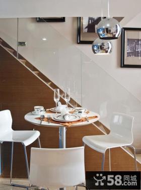 现代简约风格装修楼梯间餐桌椅图片