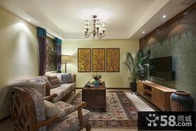 美式风格三居室客厅电视背景墙设计效果图欣赏大全