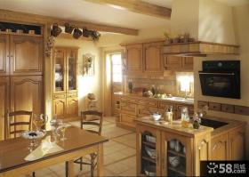 美式乡村风格大厨房实木橱柜效果图大全