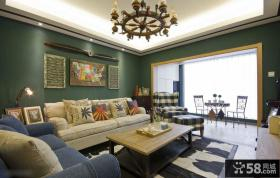 混搭风格复式楼客厅装修效果图片