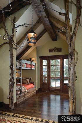 美式乡村风格上下铺儿童房卧室装修效果图大全2012图片