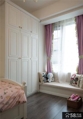 美式卧室飘窗装饰设计效果图