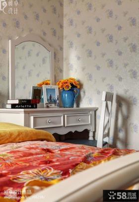 卧室收梳台壁纸背景墙效果图
