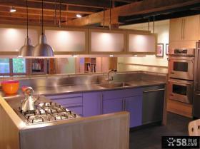 美式装修风格样板房厨房整体橱柜效果图