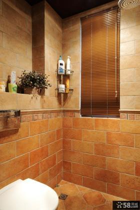 美式新古典风格卫生间仿古砖效果图