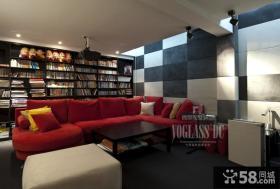 100平复式楼书房书架装修效果图
