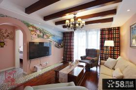 田园风格小客厅有梁吊顶效果图