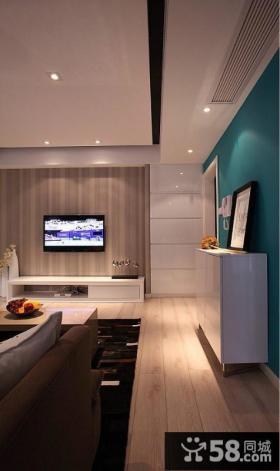 优质简约小客厅电视背景墙装修效果图片欣赏