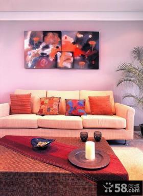 现代客厅沙发背景墙挂画效果图片