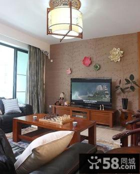 中式客厅电视背景墙墙纸图片