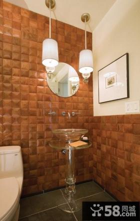 卫生间暗黄色瓷砖背景墙装修效果图大全2012图片