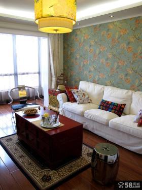 中式二居客厅沙发茶几图片