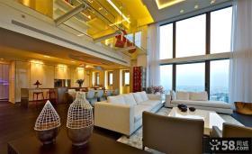现代复式公寓客厅装修效果图