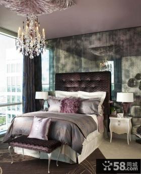 淡紫色女生卧室装修效果图2012