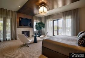 现代风格样板房卧室吊顶图片