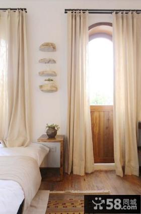 欧式卧室落地布艺窗帘效果图