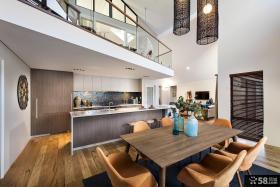 现代豪华别墅厨房餐厅装修效果图