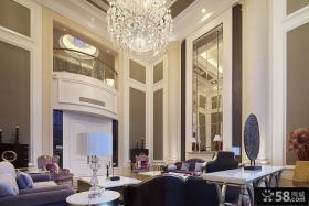 欧式风格别墅挑高客厅水晶吊灯装修效果图