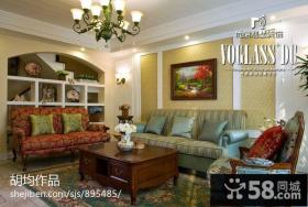 美式乡村风格客厅沙发摆设效果图