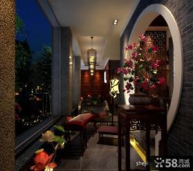 中式古典阳台装修效果图 中式风格阳台装修图片