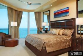 现代简约风格别墅卧室背景墙装修效果图