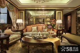 古典美式风格三室两厅效果图