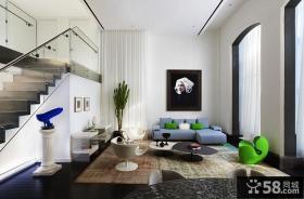 简约复式客厅效果图大全2013图片