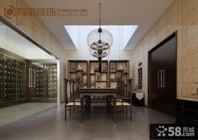 新中式别墅地下室博古架装修效果图