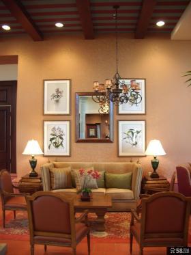 美式乡村风格别墅客厅装修效果图大全