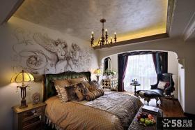 美式复古风格卧室装饰设计效果图