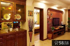 美式乡村客厅红砖电视背景墙设计
