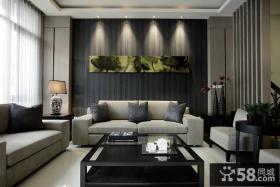 日式风格客厅背景墙装饰画图片