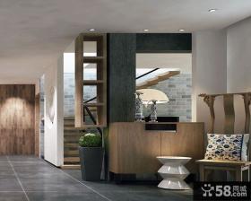 现代别墅木制楼梯的设计效果图