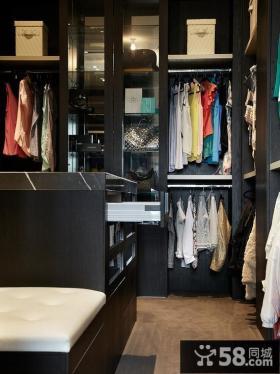 黑色实木组合衣柜图片
