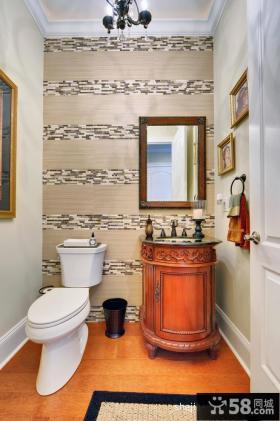 卫生间壁纸装修效果图 美式风格卫生间装修