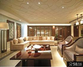 中式古典风格复式客厅吊顶装修效果图