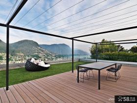 2013现代风格别墅露天阳台休闲活动区木地板装修效果图片