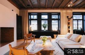别墅客厅实木装修效果图