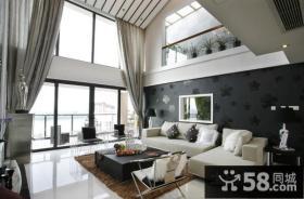 现代别墅客厅电视背景墙装修效果图