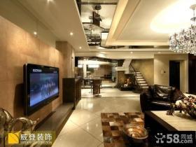 现代风格复式楼瓷砖电视背景墙
