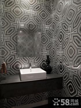 天通苑北一区复式楼卫生间壁纸装修效果图