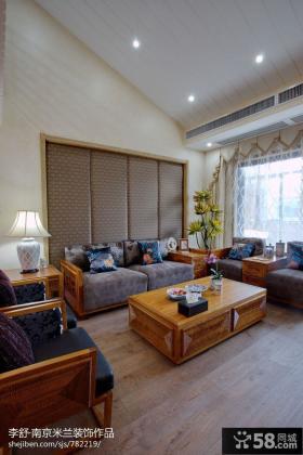 新中式别墅客厅装饰装潢效果图