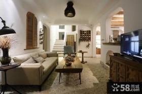 美式乡村别墅客厅装修设计图片